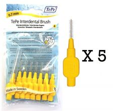 TO CLEAR - TEPE INTERDENTAL BRUSHES YELLOW 0.7mm 5 Pack Of 8 BRUSHES & FREE POST