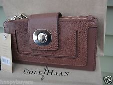 NEW WITH TAG COLE HAAN DOUBLE ZIP ACCORDIAN BROWN LEATHER WALLET.MSRP $178.00.