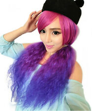 Hot Sell! Women fluffy long curly Purple Cosplay Party Costume Fancy Dress wig