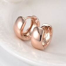 18k Rose Gold Filled Smooth Lady Hoop Earrings GF 13MM Huggie Wedding Jewelry