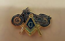 Square & Compass with Motorcycle lapel pin