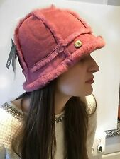NWT $150 UGG Australia Shearling Bucket Hat Suede Leather Sheepskin Fur Pink