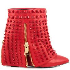 SUPER SEXY!!! Lust For Life Battle  RED SPIKE LEATHER HIDDEN WEDGE BOOTS  8.5