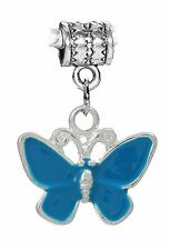 Blue Butterfly Enamel Insect Dangle Charm fits Silver European Bead Bracelets