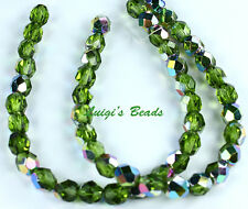 25 Vitral-Olivine Czech Firepolished Faceted Round Glass Bead Beads 6mm