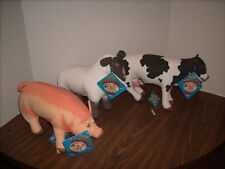 3 ERTL Talking Farm Country Friends Pig Sheep & Cow Stuffed Animals NEW 1993