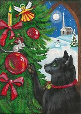 ACEO ORIGINAL PAINTING RYTA BLACK CAT MOUSE HAND PAINTED XMAS ELF FOLK CANVAS HP