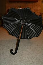VERY RARE Beautiful Antique Victorian Black Cloth Umbrella/Parasol Ruffle Detail