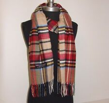 Hot New 100% Cashmere Scarf Beige/red check Plaid Scotland Wool Soft Unisex #C2
