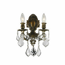 "2 Light Antique Bronze Finish W 12"" x H 13"" Versailles Crystal Wall Sconce Light"