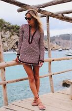 Tory Burch $295 Tory Tunic Top Eight 8 NWT Ivory Navy Red Sand Dots Stunning
