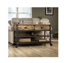 Industrial Sofa Table With Wheels Rustic Console 2 Drawers Modern Style Look