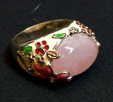 David Sigal Sterling Silver Rose Quartz Multi-color Floral Enamel Ring - Size 9