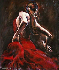 Handcraft Portrait oil painting on canvas,Spanish Flamenco Dancer 24x36 no frame