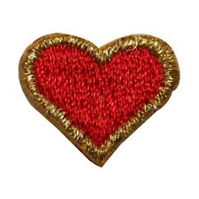 ID 8583 Lot of 3 Red Gold Poker Card Heart Embroidered Iron On Applique Patch