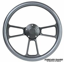 "14"" Black Billet Carbon Fiber Steering Wheel w/ 69-94 Chevy GM Ididit Adapter"