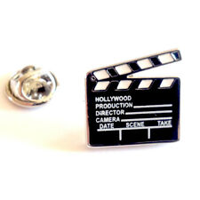 Clapperboard LAPEL PIN BADGE Hollywood Film Maker Actor Media Present Gift Box