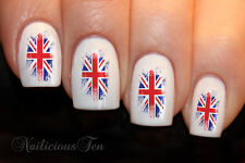 Rustic Union Jack British Flag brush style Nail Wrap Water Transfer Decal ST8100