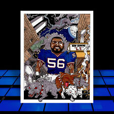 LAWRENCE TAYLOR in New York Giants jersey ART, l.t. poster, signed by the artist