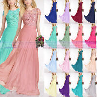 New Short Sleeve Floor Length Wedding Party Evening Bridesmaid Dress Size 6-16