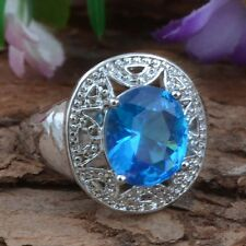 Jewelry Fashion  925 silver Sapphire wedding ring size9 gift for women N440-9