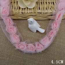 1yrd 4.5cm Pink Chiffon Shabby Rose Flower Pleated DIY Fashion Trim 64y B