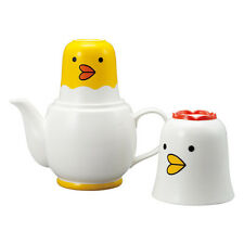 SUN ART JAPAN  Japanese Sunart TEA FOR TWO Teapot Tea cups Set White Chicken NIB