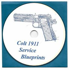 Colt 1911 .45 ACP pistol, M1911 Service pistol blueprints on CD-ROM!