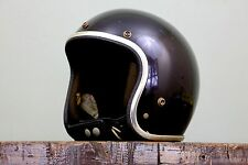 Vintage 1971 Black Arthur Fulmer Motorcycle Open Face Helmet AF 40 XL Old School