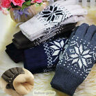 1Pair Winter Men Wool Plus Thick Knitted Warm Cotton Blend Snowflake Gloves