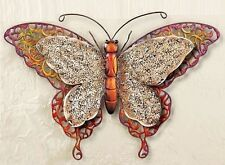Textured Antique Scrollwork Metal BUTTERFLY Wall Art Hanging Nature Decor Large