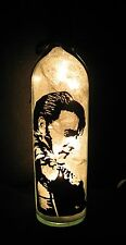 Hand Painted Elvis Presley  Night Light Lamp Made from Wine Bottle