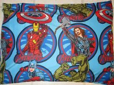 Marvel AVENGERS PILLOWCASES Iron Man CAPTAIN AMERICA The HULK Comics Fabric, NEW