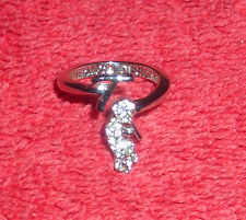 CHILDRENS INITIAL LETTER T ADJUSTABLE SILVER TONE COSTUME JEWELRY RING