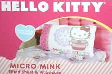 SANRIO HELLO KITTY WINTER SNOW MICRO MINK TWIN FITTED SHEET & PILLOWCASE 2PC SET