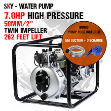 "2 Inch 2"" Petrol High Pressure Water Pump Hose Transfer Fire Fighting Irrigation"