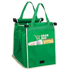 2X Pack GRAB BAG Clip to Cart Reusable Shopping Grocery Bag - As Seen on TV