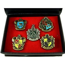 NEWEST Set of 5 pcs Harry Potter Hogwarts House Metal Pin Badge In Box