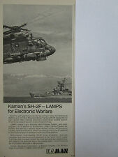1/1974 PUB KAMAN HELICOPTER SH-2F LAMPS US NAVY EW ELECTRONIC WARFARE AD