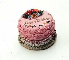 Dolls House Miniature: Pink Birthday Cake   12th Scale