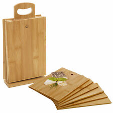 7 Piece Bamboo Chopping Board Cutting Slicing With Display Stand Fruit Vegetable