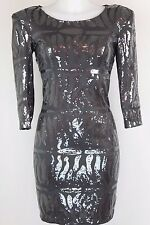 Sinequanone - Gray Sequin Print 3/4 Sleeve Bodycon Dress - Size 6