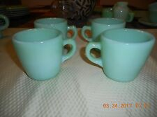 Green Jadite Fire King 4 C Ring Handle Coffee cups