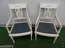 Superbe paire de fauteuils Directoire en bois laqué a décors de palmettes