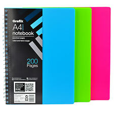 A4 Colours Notepad Spiral Pad - Book Lined 220 Page Paper Notebook Tabbed