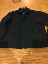 Medium Navy Blue Filson Wool Mackinaw Bomber Jacket