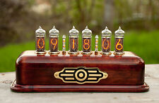 Nixie Clock steampunk fallout style handmade wooden case IN-14 tubes