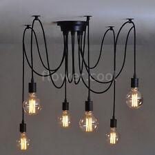6 Heads Vintage Ajustable DIY Ceiling Spider Lamp Light Pendant Lighting Edison