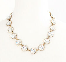 CLEAR WHITE RIVOLI CRYSTAL RHINESTONE Chunky Choker Pendant Statement Necklace