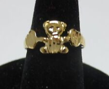 SIZE 5 14KT GOLD EP TEDDY BEAR, BABY,TOE, PINKIE, PROMISE RING